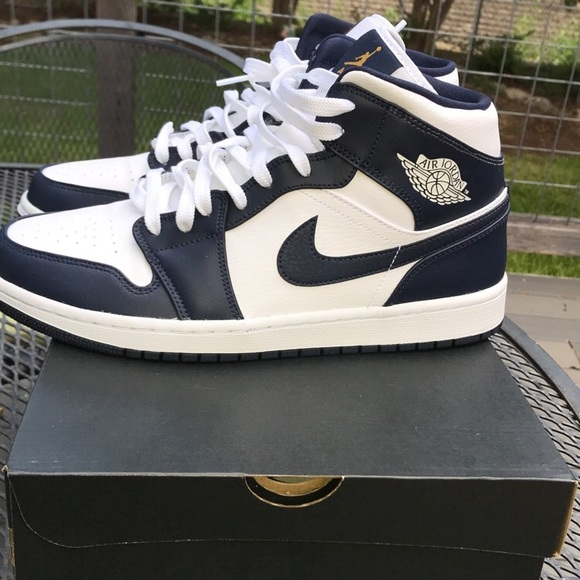 Nike Shoes Air Jordan 1 Mid Whitemetallic Gold Obsidian Poshmark